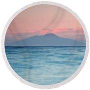 Bay Of Naples And Vesuvius From Capri Round Beach Towel