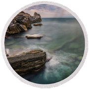 Bay Of The Gulf Of Poets Round Beach Towel