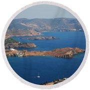 Bay View On Patmos Island Greece Round Beach Towel