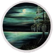 Bayou By Moonlight Round Beach Towel