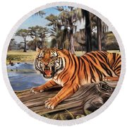 Bayou Mike Of Louisiana Round Beach Towel