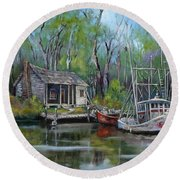 Bayou Shrimper Round Beach Towel