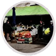 Bazaar On The Outskirts Of A Small Town Round Beach Towel