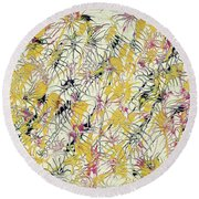 Bumble Bees Against The Windshield - V1cs65 Round Beach Towel