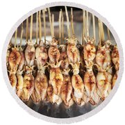 Bbq Asian Grilled Squid In Kep Market Cambodia Round Beach Towel