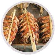 Bbq Fresh Grilled Prawns In Kep Market Cambodia Round Beach Towel