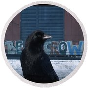 Be Crow Round Beach Towel