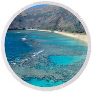 Beach And Haunama Bay, Oahu, Hawaii Round Beach Towel
