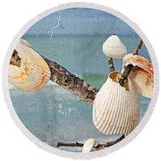 Beach Art - Seashell Shrine - Sharon Cummings Round Beach Towel