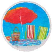 Beach Art - The Red Umbrella Round Beach Towel
