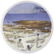 Beach At Cabasson Round Beach Towel
