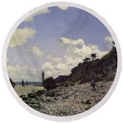 Beach At Honfleur Round Beach Towel