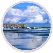 Beach At Isle Of Palms Round Beach Towel