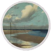 Beach At Low Tide Round Beach Towel