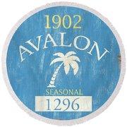 Beach Badge Avalon Round Beach Towel