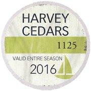Beach Badge Harvey Cedars Round Beach Towel