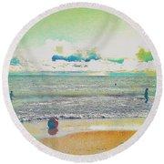 Beach Ball And Swimmers Round Beach Towel