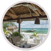 Beach Bar In Sok San Area Of Koh Rong Island Cambodia Round Beach Towel