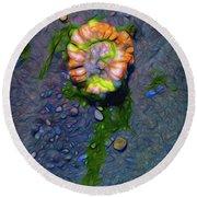 Beach Barnacle Flower Round Beach Towel