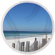 Beach Behind The Fence Round Beach Towel