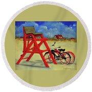 Beach Bikes Round Beach Towel