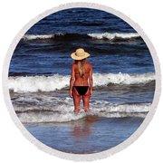 Beach Blonde - Digital Art Round Beach Towel