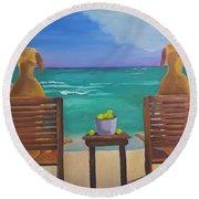 Beach Blondes Round Beach Towel