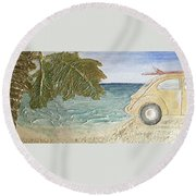 Beach Bug Round Beach Towel