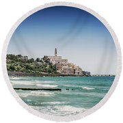 Beach By Jaffa Yafo Old Town Area Of Tel Aviv Israel Round Beach Towel