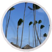 Beach Cabanas And Palm Trees Round Beach Towel