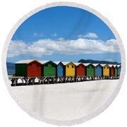 Beach Cabins  Round Beach Towel by Fabrizio Troiani