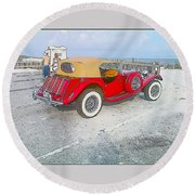Beach Car Round Beach Towel