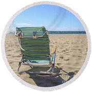 Beach Chair On A Sandy Beach Round Beach Towel