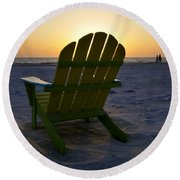 Beach Chair Sunset Round Beach Towel