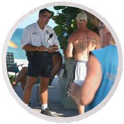 Beach Cops And Christ Round Beach Towel