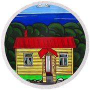Beach Cottage Round Beach Towel