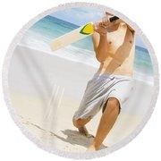 Beach Cricket Slog Round Beach Towel
