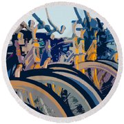 Beach Cruisers At Dawn Round Beach Towel