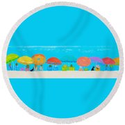 Beach Decor - Umbrellas Panorama Round Beach Towel