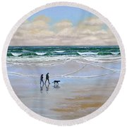 Beach Dog Walk Round Beach Towel