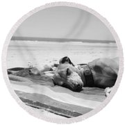 Beach Dreams Are Made Of These In Black And White Round Beach Towel