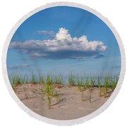 Beach Dune Clouds Jersey Shore Round Beach Towel