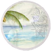 Beach Etching Round Beach Towel by Darren Cannell