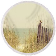 Beach Fence In Grassy Dune South Carolina Round Beach Towel