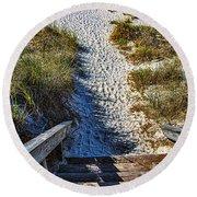 Beach Footprints - Boca Grande Florida Round Beach Towel