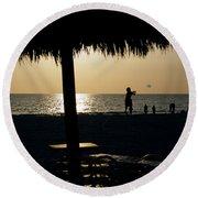 Beach Frisbee At Sunset On Marco Island Florida Round Beach Towel
