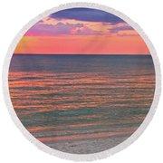 Beach Girl And Sunset Round Beach Towel