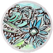Beach Glass Flowers 1- Art By Linda Woods Round Beach Towel