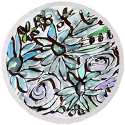 Beach Glass Flowers 2- Art By Linda Woods Round Beach Towel