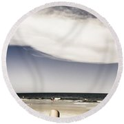 Beach Holiday Man Vertical Panorama Round Beach Towel